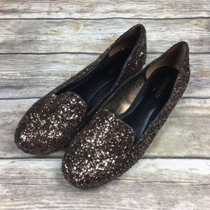 Sole Society Women's Sz 9.5 Gold Glitter Loafers